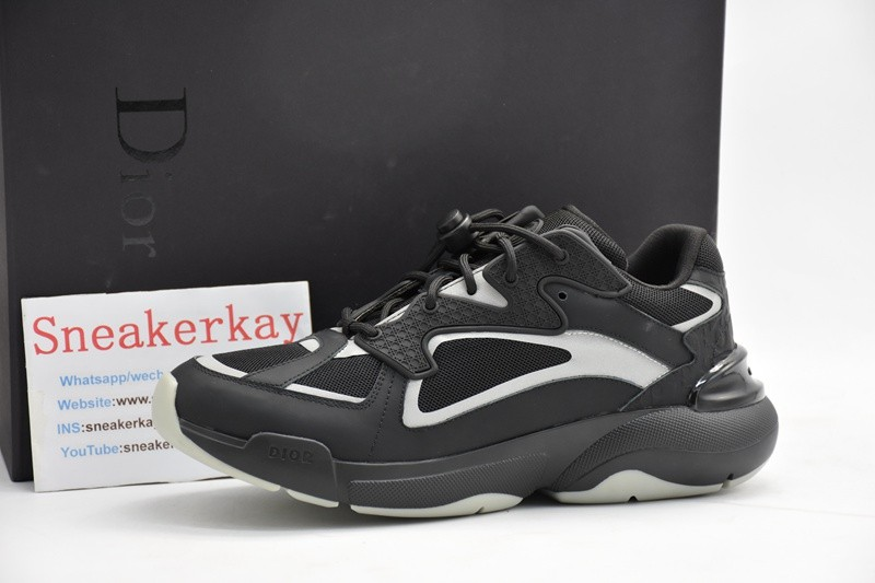 D-i-o-r Leather Running Shoes H961 Black