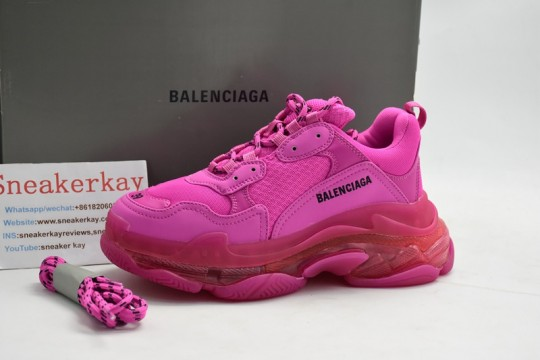 Balenciaga Triple S Clear Sole Trainers Rose Red Pink